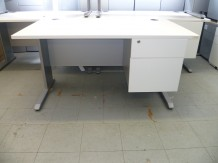 Second Hand White Desk and Fixed Drawer-1400