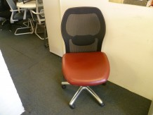 Second Hand Mesh back Operator Chair with Red Leather Seat