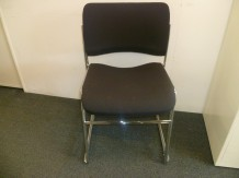 Second Hand Black Fabric Stacking Chair with Chrome Frame